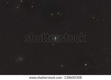Globular Cluster M53 and Open Cluster NGC 5053 - stock photo