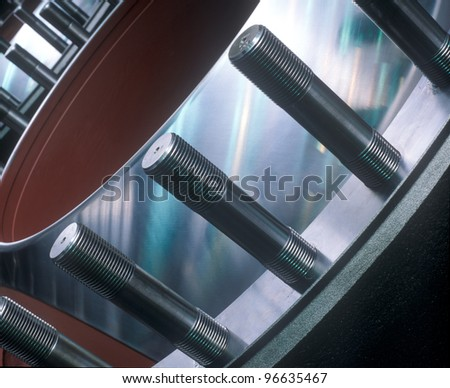 Globular pipe closure, blue reflection. - stock photo
