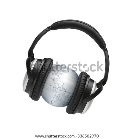 globus with headphones