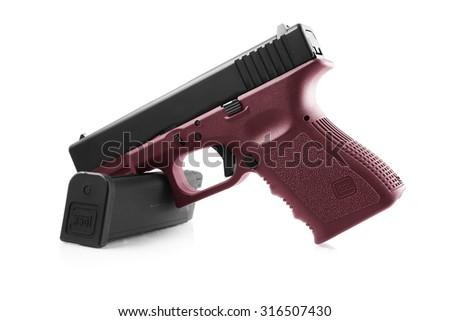 Glock pistol handgun on a white background - stock photo