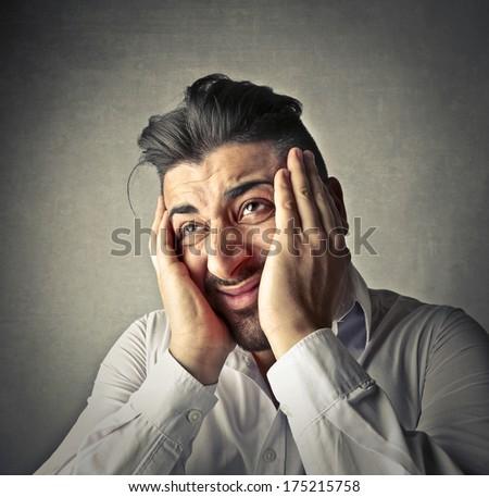 gloomy man - stock photo