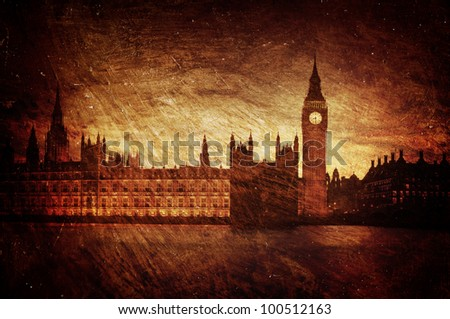 Gloomy textured image of Houses of Parliament in London - England.