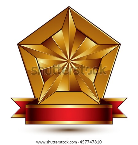 glorious glossy design element, luxury 3d pentagonal golden star placed on a decorative blazon, conceptual graphic coat of arms with wavy red ribbon   - stock photo