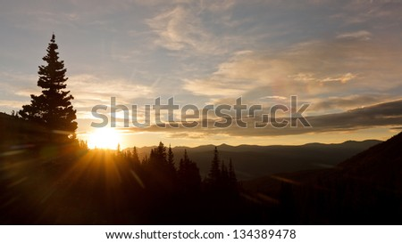 Glorious Sunrise in the Wilderness of the Rocky Mountains in Colorado, USA - stock photo