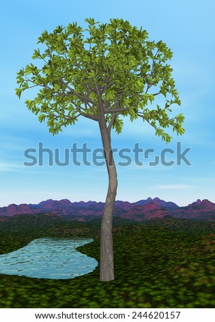 Glossopteris tree by day - 3D render