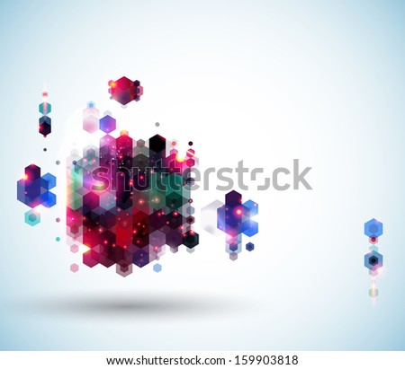 Glossy abstract page layout for Your presentation. Geometric background with hexagons.  - stock photo