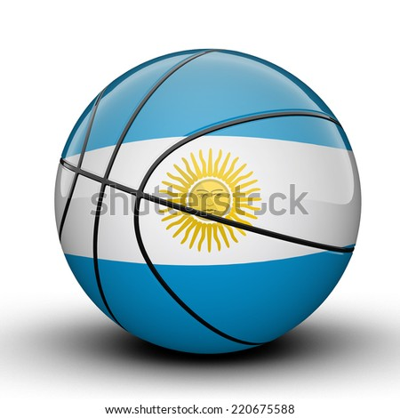 Glossy Argentina basketball ball flag isolated on white background