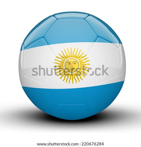 Glossy Argentina football ball flag isolated on white background