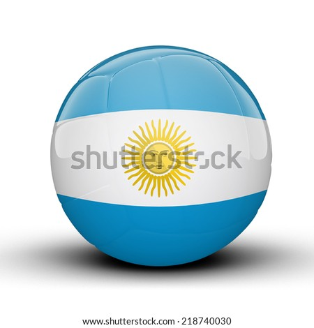 Glossy Argentina volleyball ball flag isolated on white background