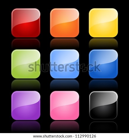 Glossy blank buttons in color variations with reflections on black background