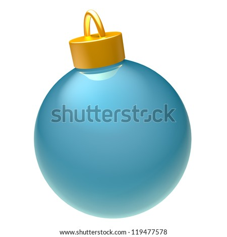 Glossy blue 3D Christmas ball isolated on white background - stock photo