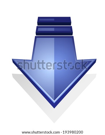 Glossy blue download icon of an arrow pointing down, isolated on white background. Vector version also available in gallery - stock photo