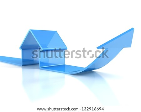 glossy blue house icon with rising arrow. real estate concept - stock photo