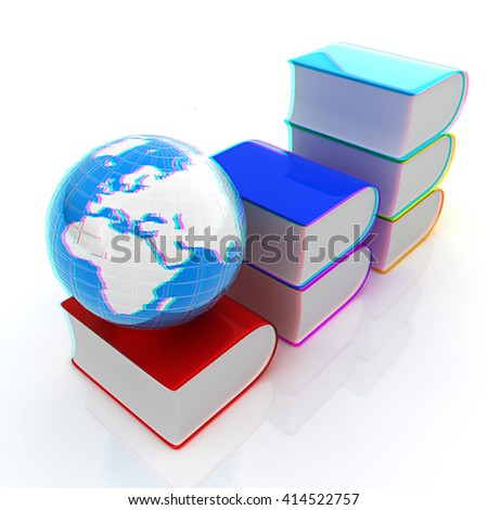 Glossy Books Icon isolated on a white background and earth. 3D illustration. Anaglyph. View with red/cyan glasses to see in 3D.