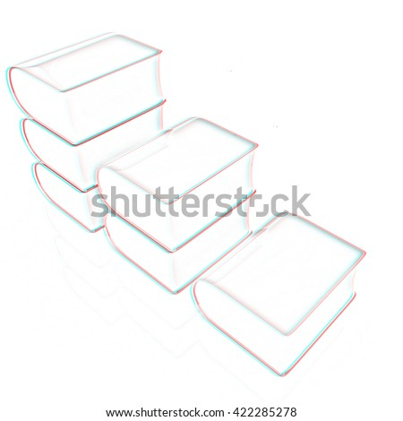 Glossy Books Icon isolated on a white background. Pencil drawing. 3D illustration. Anaglyph. View with red/cyan glasses to see in 3D.
