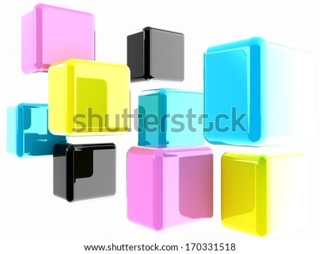 Glossy CMYK cubes on white  - stock photo