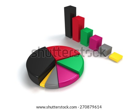 glossy colorful bar graph and pie chart on white background - stock photo