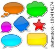 Glossy, colorful, empty and blank comic speech bubbles set with white border and shadow on white background - stock photo
