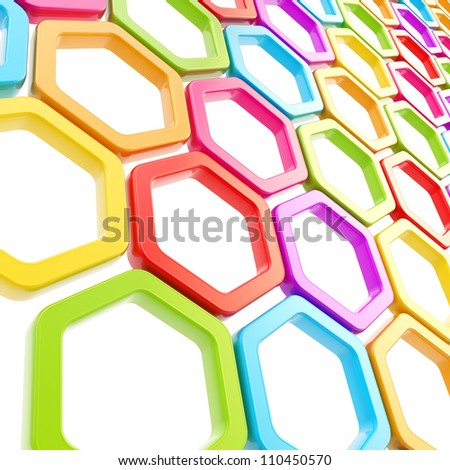 Glossy colorful hexagon segments on white as abstract copyspace background - stock photo