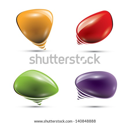 Glossy colorful speech bubbles - stock photo