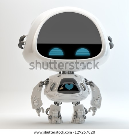 Glossy cute robotic cyber toy with screen indicator. 3d render / Little robot toy - stock photo