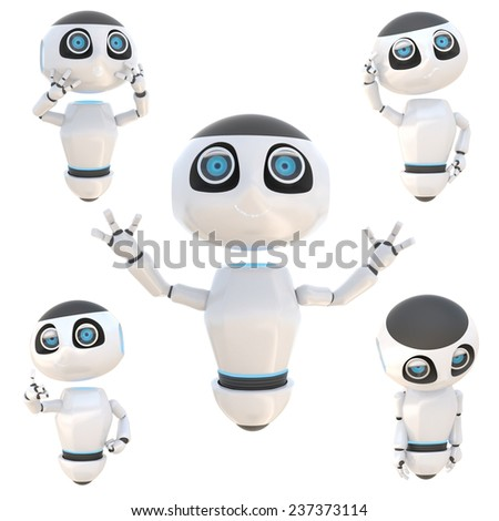 Glossy cute white robot emotion and expression 3d render. Isolated on white. easily applicable for design - stock photo
