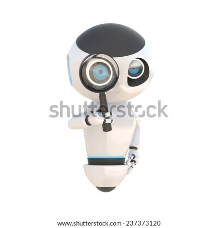 Glossy cute white robot with magnify glass Isolated on white. easily applicable for design