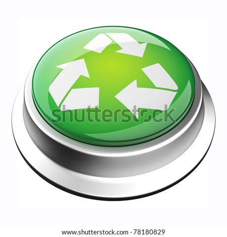 glossy 3D recycle button in brushed metal frame - stock photo