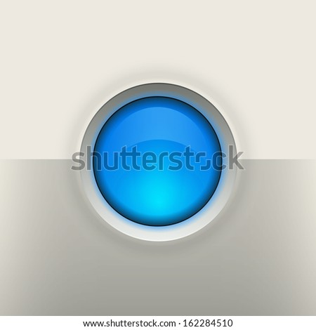 Glossy empty button on grey background - stock photo