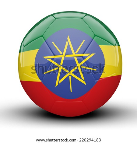 Glossy Ethiopia football ball flag isolated on white background