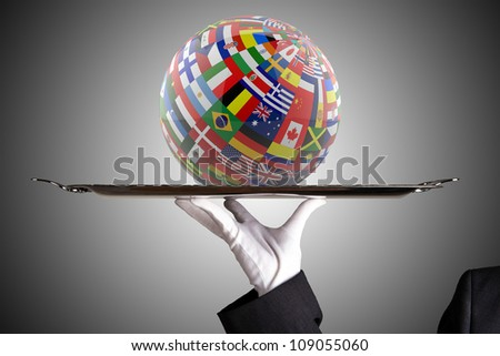 Glossy Flag Globe with different country flags - stock photo