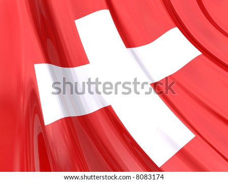 Glossy Flag of Switzerland. The glossy surface of the flag, reflects the ambience.