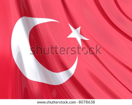 Glossy Flag of Turkey. The glossy surface of the flag, reflects the ambience.