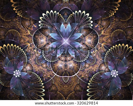 Glossy fractal flower, digital artwork for creative graphic design