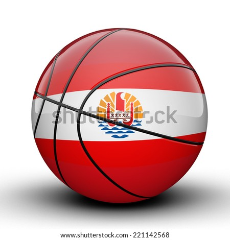 Glossy French Polynesia (France) basketball ball flag isolated on white background - stock photo