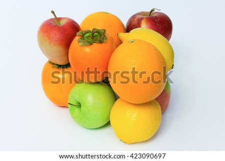 Glossy fruit set isolated on white background.