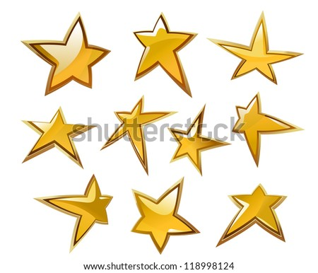 Glossy gold and yellow stars icons and symbols isolated on white background, such a logo template. Vector version also available in gallery - stock photo