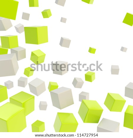 Glossy green and gray cube copyspace composition over white background as abstract backdrop - stock photo