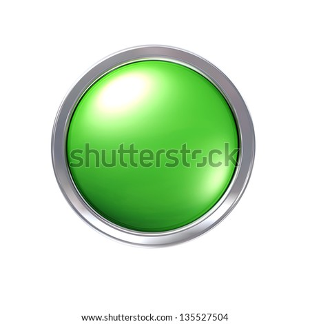Glossy green CAD button with chrome bezel - stock photo