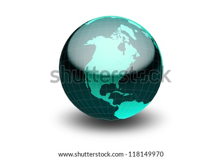 Glossy green globe  with geographical grid facing North America - stock photo