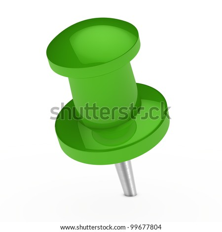 glossy green notepaper pin on white background - stock photo
