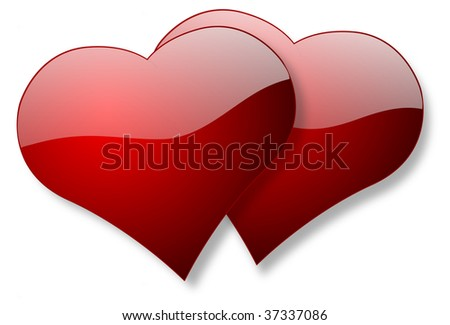 Glossy hearts of love illustration isolated over white background - stock photo