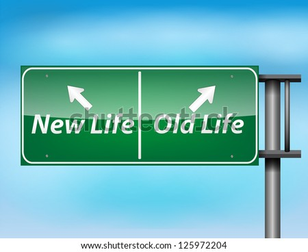 Glossy highway sign with New Life and Old life text on a blue background. - stock photo