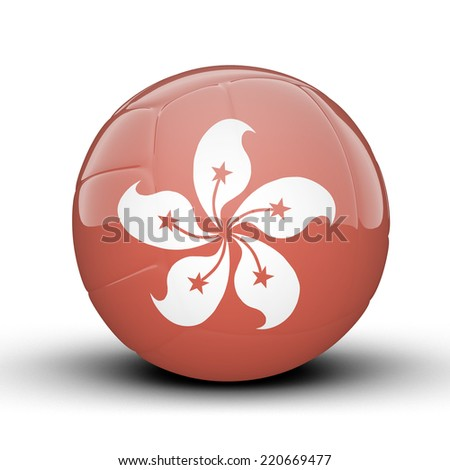 Glossy Hong Kong (China) volleyball ball flag isolated on white background