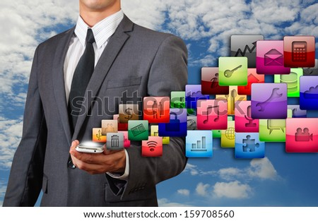 glossy icon floating from smart phone - stock photo