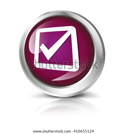 Glossy icon or button with check mark symbol.