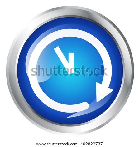Glossy icon or button with clock or time symbol.