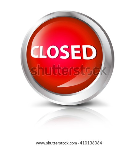 Glossy icon or button with closed symbol. - stock photo