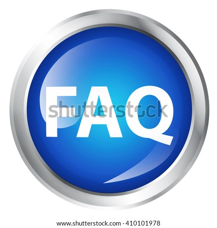 Glossy icon or button with FAQ symbol. - stock photo