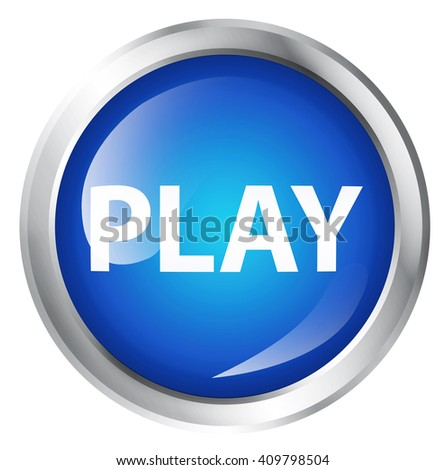Glossy icon or button with play symbol. - stock photo